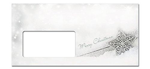 SIGEL DU136 Briefumschläge Weihnachten in silbernem Sterndesign, DIN lang, 50 Stück