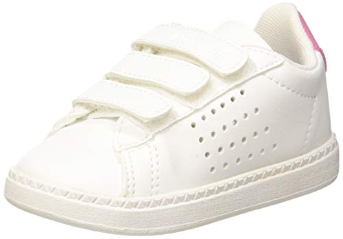 le coq Sportif Baby Mädchen Courtset Inf Sport Girl pi Sneaker, Weiß (Optical White/Pink Carnation Optical White/Pink Carnation), 23 EU