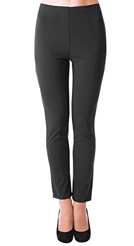 Danaest Damen Stretch Hose gerades Bein (491), Grösse:XL, Farbe:Schwarz - Falten Gerades Bein Hose