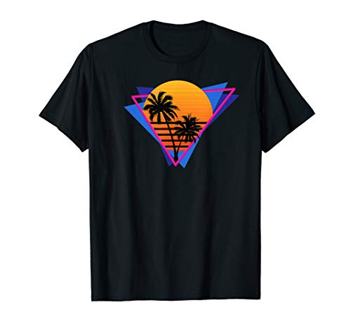 80s Style Synthwave Retrowave Aesthetic Palm Tree Sunset T-Shirt