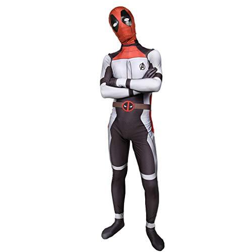 Elasthan Kostüm Deadpool - Wangxyan Deadpool Kostüm Kostüme Halloween Rollenspiel Overall Cosplay Kostüm Thema Party Kleidung Strampler Anzug Größe Medium,Grau,S