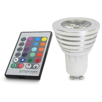 Lámpara LED GU10 3W, RGB + Mando a distancia. Bombilla Led GU 10 RGB