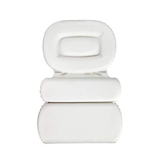 Liveinu 3 Fach Badewannenkissen Luxus Wannenkissen Bad Kissen mit Saugnäpfen Rutschfeste Antibakteriell Wasserabweisenden Nackenkissen für Kopf Nacken Rücken 55x38cm Weiß (Luxus-bad-kissen)