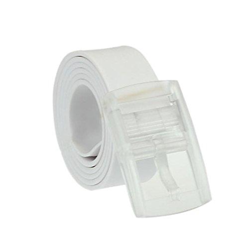 FEITONG Unisex Glatte Silikon Gummi Gürtel Kunststoff Gürtelschnalle (130CM, Weiß) (Nieten-doppel-gurt)