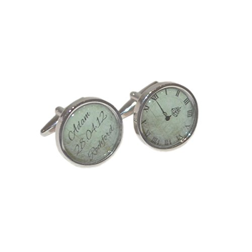 Personalised Grooms First Name, Date, Location & Time Wedding Cufflinks (X2BESPOKEWTD)