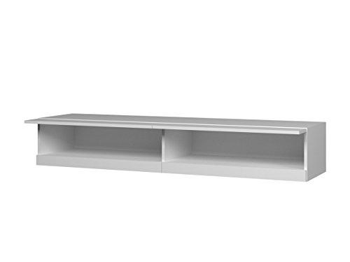 TV Lowboard Vigo New 180 cm, TV Tische, TV Schrank, Fernsehschrank, Hängeschrank, Hochglanz (mit blauer LED Beleuchtung, Weiß / Weiß Hochglanz) - 3
