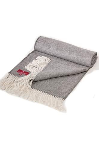 APU KUNTUR Alpaka-Decke TAGESDECKE aus Baby-Alpaka im Fischgrätmuster 135x180/196cm Kuschel-Plaid grau-weiß - Grau Fischgrät Wolle