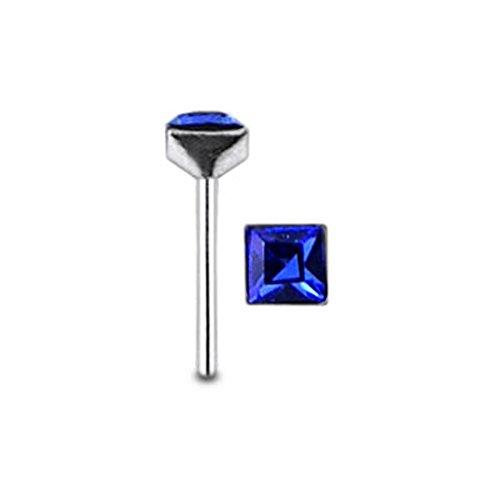Quadratische dunkel blau Crystal Stein Top 22 Gauge 925 Sterling Silber gerade Nase Stud Piercing