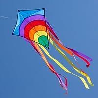 CIM Kinderdrachen - Rainbow Eddy Blue - Einleiner-Drachen für Kinder ab 3 Jahren - Abmessung: 65x74cm - inkl. 80m Drachenschnur und 8x105cm Streifenschwänze