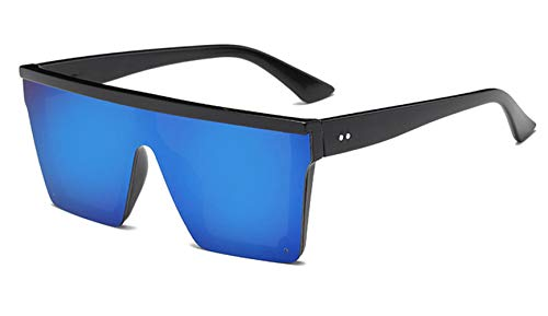 HUWAIYUNDONG Sonnenbrillen,New Oversized Women Big Frame Square Sunglasses Female Men Vintage Mirror Shades Gradient Black Blue