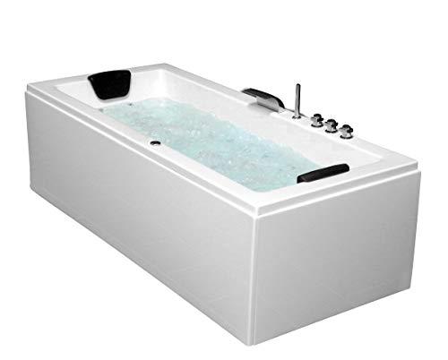 Whirlpool Badewanne Venedig MADE IN GERMANY rechts oder links 180 x 80 / 190 x 90 oder 200 x 90 cm mit 6 Massage Düsen + MIT Armaturen runde rechte / linke Eckbadewanne