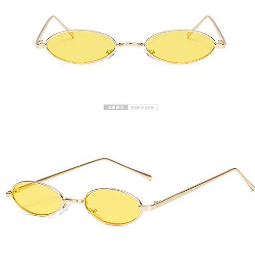 che Ovale Sonnenbrille Frauen Männer Retro Gold-Gelb Designer Sonnenbrille Metallrahmen Wrap Coating Spiegel Sonnenbrille Für Weibliche Damen ()
