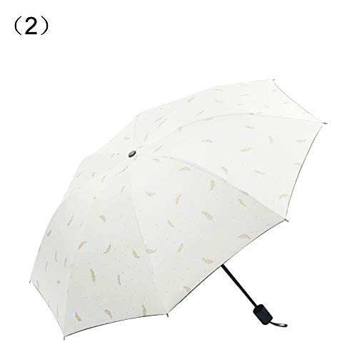 ChanYYw Sun Rain Umbrella UV Protection Compact Portable Reinforced Feather Stamping Windproof Travel Umbrella Frame 3 Folds Sunshade Umbrella White Folding Frame Screen