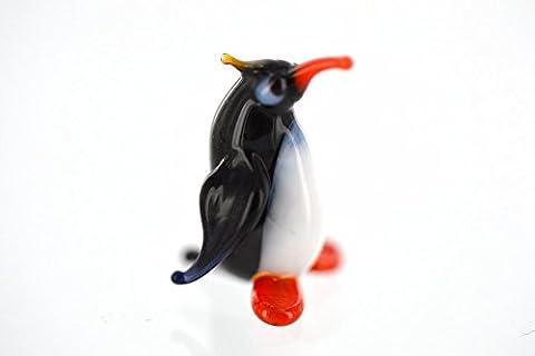 Pinguin Kaiserpinguin mini mit gelber Kopffeder - Figur aus Glas - König Pinguin - Miniatur Glastier Glasfigur Setzkasten Deko