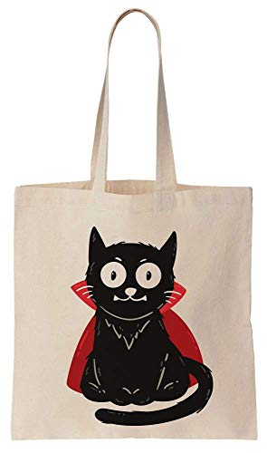 Finest Prints Cute Vampire Cat With Red Cape Cotton Canvas Tote Bag