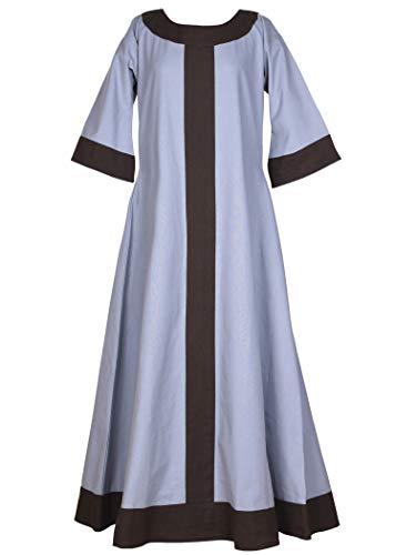 Mittelalter Kleid Gudrun lang für Damen aus Baumwolle blau-grau/braun L - Mittelalter Kleidung Wikinger LARP Mittelalterkleid blau braun (L, blaugrau/braun)