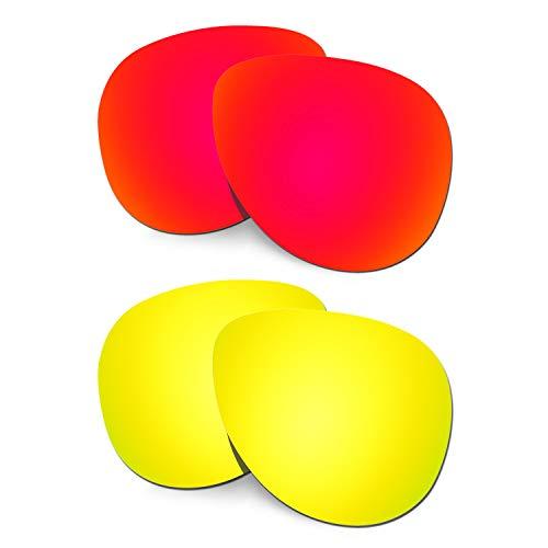 HKUCO Verstärken Ersatz-Brillengläser für Oakley Elmont (Medium) Rot/24 Karat Gold Sonnenbrille