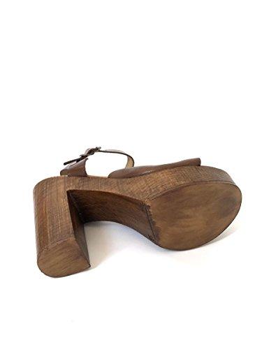 Zoccoli sandali tacco alto plateau in pelle made italy cuoio MainApps Cuoio