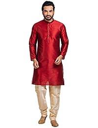 Shahzada Men's Solid Straight Kurta(Red)
