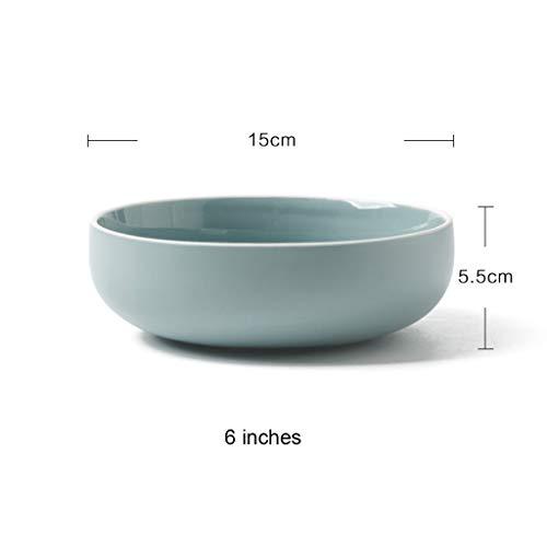 YYF Vaisselle en céramique ronde bleu clair - riz simple/nouilles/soupe/plat/set macaron