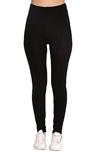 Womens Ladies Warm Thick Ribbed Chunky Cable Knit Full Length Stretchy Leggings Pants (Cable Knit Leggings)