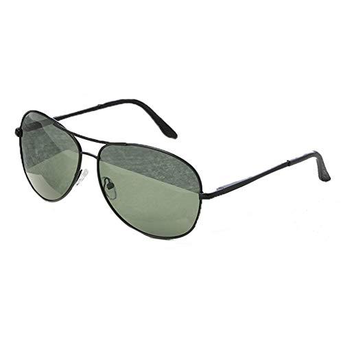 TOOSD Sonnenbrille Polarisierte Herren Fahren UV400 Unisex Schutz Brille Metallgestell Einheitsgröße Objektiv-Feld mit dunkelgrüne Flieger-Sonnenbrille,Green