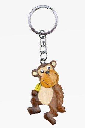 Schlüsselanhänger Affe mit Banane aus Holz und Metall, Affen Tier Tiere