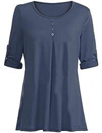 Mujer blusa camiseta T-shirt tops moda fashion 2018 Otoño,Sonnena Las mujeres Blusa de manga larga O cuello de bolsillo T-shirts casual Blusas sueltas de calle temporada cálida
