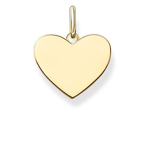 Thomas Sabo Damen-Anhänger Love Bridge Herz 925 Sterling Silber 750 gelbgold vergoldet 1.5 cm LBPE0002-413-12