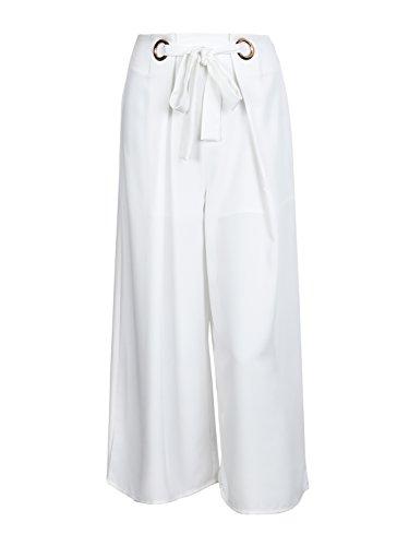 Missy Chilli Damen Hose Elegant Lockere High Waist Chiffon Sommer Hose Casual Trousers Pants (Leg Beach Wide Hose)