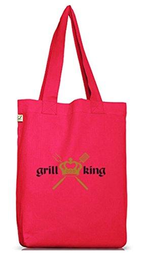 Shirtstreet24, GRILL KING, Grillen Jutebeutel Stoff Tasche Earth Positive Hot Pink