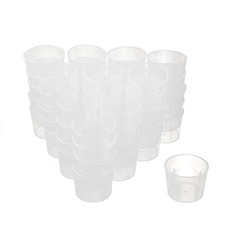 sourcingmap® 50Stk 15mL Kunststofflabor Wasserlösung Messbecher mit Skala klar (Messbecher, Nest)