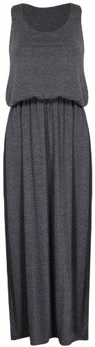Damen Neu Elastisch Geraffte Taille Toga Racerback Damen-kleider Einfarbig Ärmellos Langes Top Maxi Kleid - Grau, S/M (36/38)