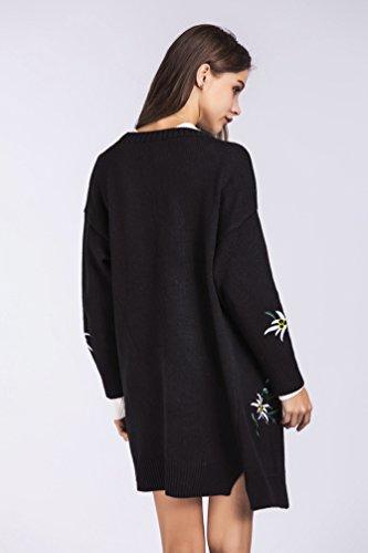 WanYang Femme Cardigan Veste Manteau Tricoté à Manches Longue Outwear Automne à Manches Longues Outwear Noir