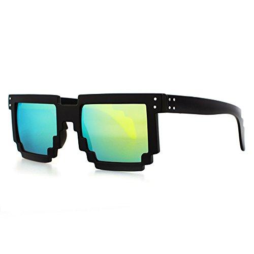 Distressed Pixel Sonnenbrille im Retro Stil 70er 80er (schwarz-gold-verspiegelt)