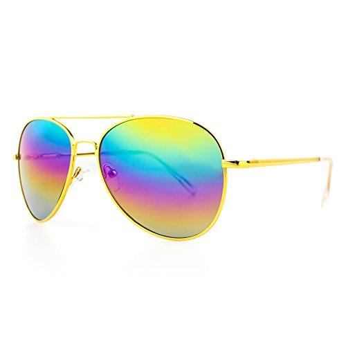 DISTRESSED Sonnenbrille Pilotenbrille Topgun Pornobrille gold-regenbogen-verspiegelt