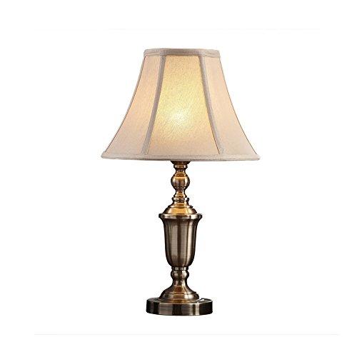 Golden Bronze Tischlampe (American Retro Schreibtischlampe Einfache Bronze Galvanisierte Tischlampe Warm Stoff Leselampe Tischlampe Für Schlafzimmer Wohnzimmer Hochzeit Zimmer Villa Club Restaurant Hotel, H50cm D30cm E27)
