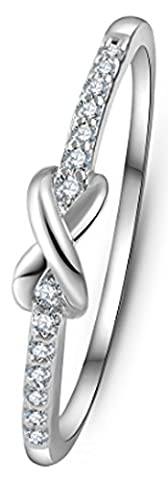 SaySure - Gold Plated Cross infinity Crystal Ring (SIZE : 9)