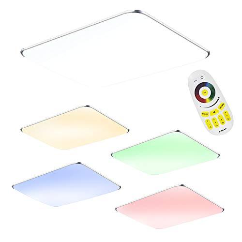 64W LED Deckenleuchte mit Fernbedienung RGB Dimmbar - Modern Ultraslim led panel deckenlampe - Küche Wohnzimmer Schlafzimmer Wandlampe (64W RGB) Ultra Slim Panel