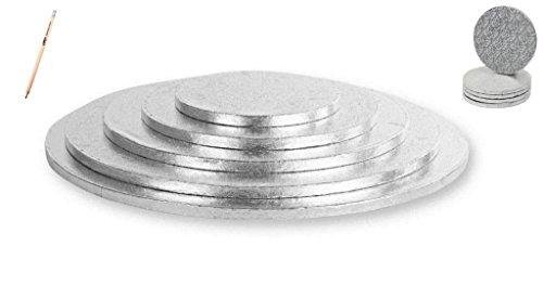 rund, silber, beschichtet, in verschiedenen Größen DIAMETRO 20 CM (Kuchen Karton Base)