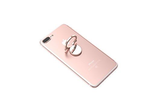 Kronya® | 360° drehbarer Smartphone Fingerhalter | Case Finger Griff Halter Halterung Handy Hülle Ring Ringhalter Ständer Tablet | Kompatibel mit Apple iPhone iPad Samsung Galaxy | 5 (Roségold) - Fire 9 Kindle Hd Fall