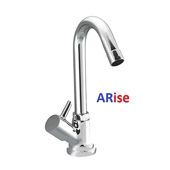 ARISE JAGGER Flora Swan Neck Pillar Cock Brass Chrome Plated Wash Basin 360 Degree Moving Spout Tap