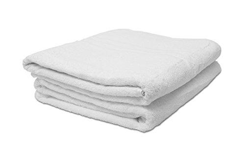 ZOLLNER® 2er Set Badetücher / Handtuch XXL / Saunatücher weiß 100x150 cm, 100 % Baumwolle, 550 g/qm, direkt vom Hotelwäschespezialisten, Serie