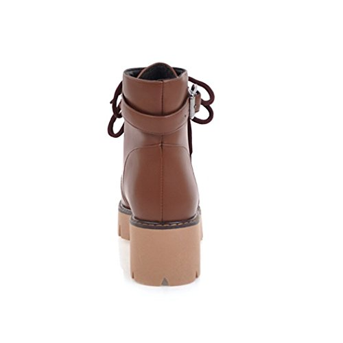 ZQ@X In autunno e in inverno, testa tonda con grassetto, con elegante e versatile cinturino Martin Stivali Stivali femmina Brown