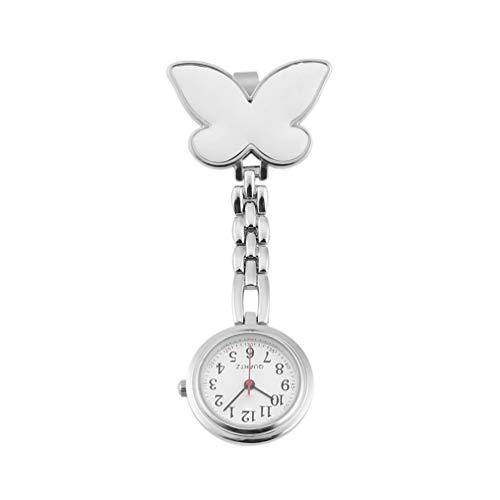 Orologio da tasca con pendente al quarzo con spilla a clip con infermiera a farfalla (bianco)