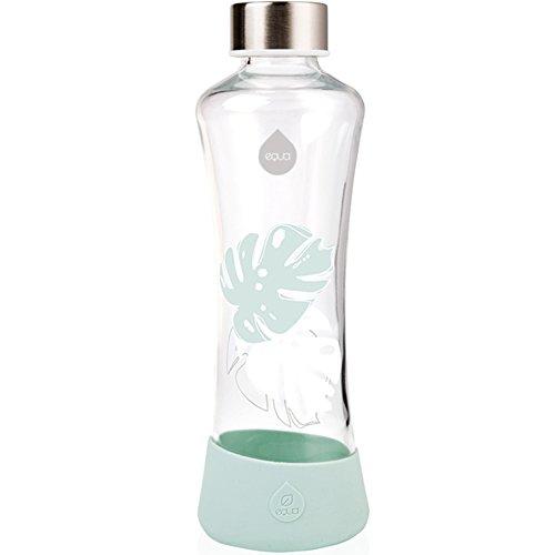 EQUA Glasflasche Monstera 0,55l Trinkflasche aus Glas 550 ml Sportflasche mit Silikonboden Flasche mit Silikonhülle Designer Trinkflasche für unterwegs und Büro Glas Flasche Glas