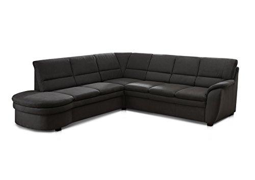 CAVADORE Ecksofa Gingle/Sofa mit Federkern, Relaxfunktion und hochwertigem Mikrofaser-Bezug in Wildlederoptik/Klassisches Design/Größe: 260 x 89 x 240 cm (BxHxT) / Farbe: Anthrazit (dunkelgrau)