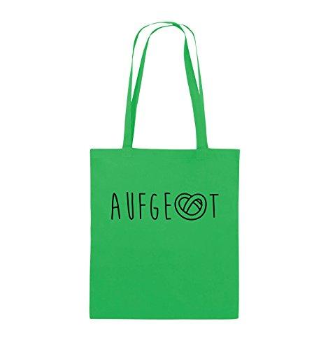 Comedy Bags - AUFGEBREZELT Oktoberfest - Jutebeutel - lange Henkel - 38x42cm - Farbe: Schwarz / Pink Grün / Schwarz
