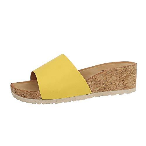 Ital-Design Damenschuhe Sandalen & Sandaletten Pantoletten Synthetik Gelb Gr. 39 (Gelbe Und Hochzeit Weiße)