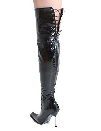 Lackstiefel oberschenkellang stiletto metallabsatz overknee noir - Schwarz/Metall